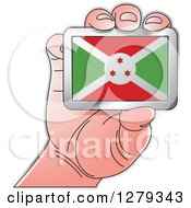 Clipart Of A Caucasian Hand Holding A Burundian Flag Royalty Free Vector Illustration