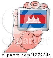 Clipart Of A Caucasian Hand Holding A Cambodian Flag Royalty Free Vector Illustration