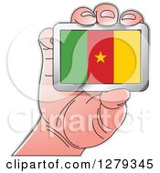 Clipart Of A Caucasian Hand Holding A Cameroonian Flag Royalty Free Vector Illustration