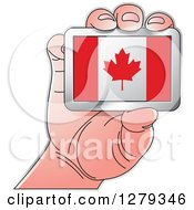 Clipart Of A Caucasian Hand Holding A Canadian Flag Royalty Free Vector Illustration