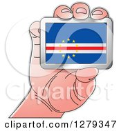 Clipart Of A Caucasian Hand Holding A Cabo Verdean Flag Royalty Free Vector Illustration