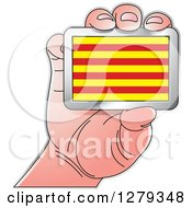 Clipart Of A Caucasian Hand Holding A Catalonian Flag Royalty Free Vector Illustration