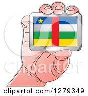 Clipart Of A Caucasian Hand Holding A Central African Flag Royalty Free Vector Illustration