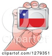 Clipart Of A Caucasian Hand Holding A Chilean Flag Royalty Free Vector Illustration
