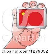 Clipart Of A Caucasian Hand Holding A Chinese Flag Royalty Free Vector Illustration