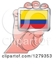 Clipart Of A Caucasian Hand Holding A Colombian Flag Royalty Free Vector Illustration