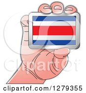 Clipart Of A Caucasian Hand Holding A Costa Rican Flag Royalty Free Vector Illustration
