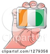 Clipart Of A Caucasian Hand Holding An Ivorian Flag Royalty Free Vector Illustration
