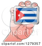 Clipart Of A Caucasian Hand Holding A Cuban Flag Royalty Free Vector Illustration