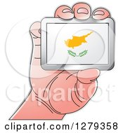 Clipart Of A Caucasian Hand Holding A Cyprus Flag Royalty Free Vector Illustration