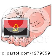 Clipart Of A Caucasian Hand Holding An Angolan Flag Royalty Free Vector Illustration