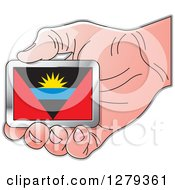 Clipart Of A Caucasian Hand Holding An Antiguan Flag Royalty Free Vector Illustration