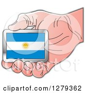 Clipart Of A Caucasian Hand Holding An Argentine Flag Royalty Free Vector Illustration
