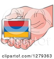 Clipart Of A Caucasian Hand Holding An Armenian Flag Royalty Free Vector Illustration