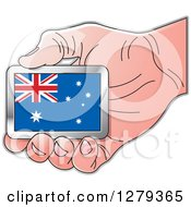 Clipart Of A Caucasian Hand Holding An Australian Flag Royalty Free Vector Illustration