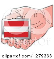 Clipart Of A Caucasian Hand Holding An Austrian Flag Royalty Free Vector Illustration