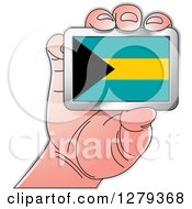 Clipart Of A Caucasian Hand Holding A Bahamas Flag Royalty Free Vector Illustration