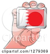 Clipart Of A Caucasian Hand Holding A Bahraini Flag Royalty Free Vector Illustration