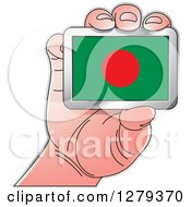 Clipart Of A Caucasian Hand Holding A Bangladeshi Flag Royalty Free Vector Illustration