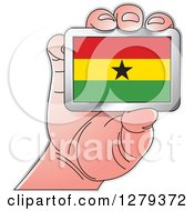 Clipart Of A Caucasian Hand Holding A Ghanaian Flag Royalty Free Vector Illustration