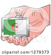 Clipart Of A Caucasian Hand Holding An Algerian Flag Royalty Free Vector Illustration