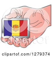 Clipart Of A Caucasian Hand Holding An Andorran Flag Royalty Free Vector Illustration
