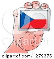 Clipart Of A Caucasian Hand Holding A Czech Flag Royalty Free Vector Illustration