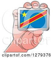 Clipart Of A Caucasian Hand Holding A Republic Of Congo Flag Royalty Free Vector Illustration