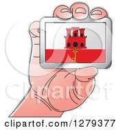 Clipart Of A Caucasian Hand Holding A Gibraltarian Flag Royalty Free Vector Illustration