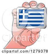 Clipart Of A Caucasian Hand Holding A Greek Flag Royalty Free Vector Illustration