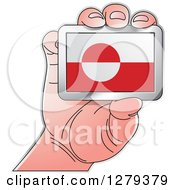 Clipart Of A Caucasian Hand Holding A Greenland Flag Royalty Free Vector Illustration