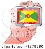 Clipart Of A Caucasian Hand Holding A Grenada Flag Royalty Free Vector Illustration