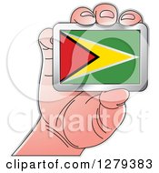 Clipart Of A Caucasian Hand Holding A Guyanese Flag Royalty Free Vector Illustration