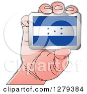 Clipart Of A Caucasian Hand Holding A Honduras Flag Royalty Free Vector Illustration