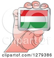 Clipart Of A Caucasian Hand Holding A Hungary Flag Royalty Free Vector Illustration