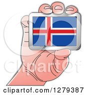 Clipart Of A Caucasian Hand Holding An Iceland Flag Royalty Free Vector Illustration