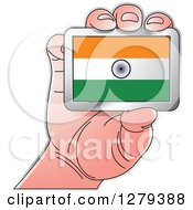 Clipart Of A Caucasian Hand Holding An Indian Flag Royalty Free Vector Illustration
