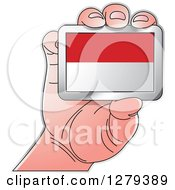 Clipart Of A Caucasian Hand Holding An Indonesian Flag Royalty Free Vector Illustration