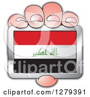 Clipart Of A Caucasian Hand Holding An Iraqi Flag Royalty Free Vector Illustration