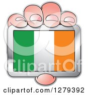 Clipart Of A Caucasian Hand Holding An Irish Flag Royalty Free Vector Illustration