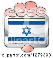 Clipart Of A Caucasian Hand Holding An Israeli Flag Royalty Free Vector Illustration