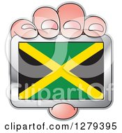 Clipart Of A Caucasian Hand Holding A Jamaican Flag Royalty Free Vector Illustration by Lal Perera