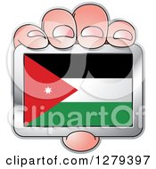 Clipart Of A Caucasian Hand Holding A Jordanian Flag Royalty Free Vector Illustration