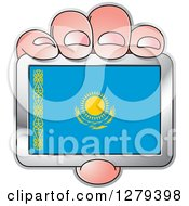 Clipart Of A Caucasian Hand Holding A Kazakhstani Flag Royalty Free Vector Illustration