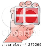 Clipart Of A Caucasian Hand Holding A Danish Flag Royalty Free Vector Illustration