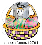 Clipart Picture Of A Garbage Can Mascot Cartoon Character In An Easter Basket Full Of Decorated Easter Eggs by Toons4Biz