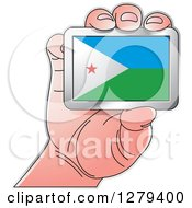 Clipart Of A Caucasian Hand Holding A Djibouti Flag Royalty Free Vector Illustration