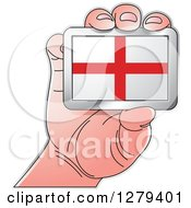 Clipart Of A Caucasian Hand Holding An English Flag Royalty Free Vector Illustration by Lal Perera