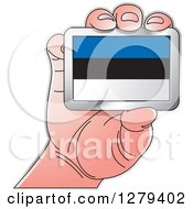 Clipart Of A Caucasian Hand Holding An Estonia Flag Royalty Free Vector Illustration