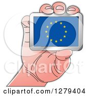 Clipart Of A Caucasian Hand Holding A European Flag Royalty Free Vector Illustration